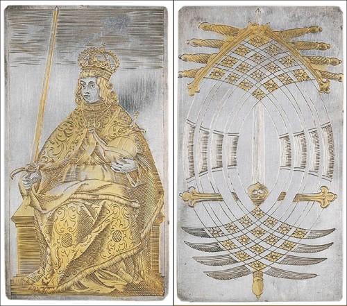 Серебряные карты с позолотой
